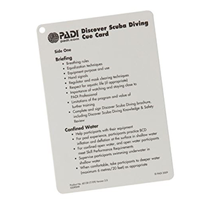 PADI Discover Scuba Diving Instructor Cue Card